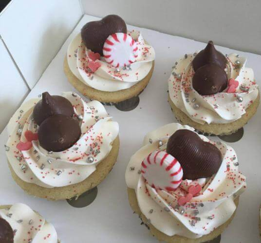 Vanilla cupcakes with hearts, sprinkles and peppermint candy from BSweetCupcakery